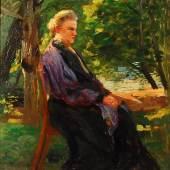 Leo Putz: Ältere Dame im Garten.