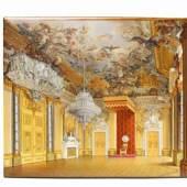 Porzellanbild mit Ansicht des Rittersaals Aufglasurdekor in hellbrauner Rahmen. Berlin, KPM, ab 1837, der Dekor von Albert Theophron Kjellberg, 1846. Schätzpreis:50.000 - 80.000 EUR