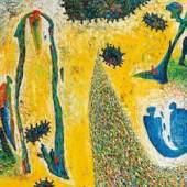 Gunter Damisch, Gelbfeldwelten, 2003 Öl auf Leinwand; 151 × 181 cm Meistbot: € 27.000 / Kaufpreis: € 34.000