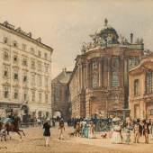 Rudolf von Alt (1812 – 1905) Hofreitschule und Altes Burgtheater am Michaelerplatz in Wien, 1848 Aquarell auf Papier 12,6 x 18,4 cm verkauft um: € 35.280