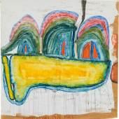 Friedensreich Hundertwasser* (1928 – 2000) Trois Collines Sur Le Nuage Jaune. 1956 Aquarell auf Packpapier 50 x 49,5 cm 100.000 – 200.000 €