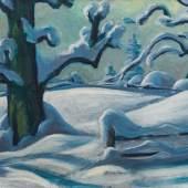 Werner Berg (1904 – 1981) Neuschnee, 1969 Öl auf Leinwand, 60 x 100 cm Schätzpreis: 100.000 – 160.000 €