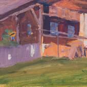Egon Schiele (1890 – 1918) Bauernhaus, 1908 Öl auf Karton, 17,5 x 26,3 cm Schätzpreis: 150.000 – 300.000 €