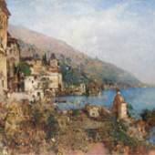 Robert Russ (1847 - Wien - 1922) Sonnige Impression von Gargnano am Gardasee Öl auf Leinen, 102 x 80 cm Rechts unten signiert Galerie Stallburg