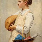 Albert Anker Jente med brød, 1887 © Kunstmuseum Bern / Legat Geneviève Mieg, Genf