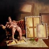 Gebhardt Torsten, Die alte Hure Kunst, 2013, Öl a. LW, 120 x 150 cm, Galerie Dikmayer, Berlin-D