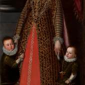Pietro Fachetti (1535 - 1619) Presumed Portrait of Donna Livia Orsini Cesarini, Duchess of Civitanova, with her sons Don Alessandro and Don Virginio. Oil on canvas, 187 x 98 cm, c. 1597.  Galerie Canesso