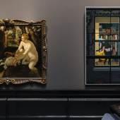 Ausstellungsansicht Tintoretto / Marshall Jacopo Robusti, gen. Tintoretto, Susanna im Bade, um 1555/56 Kunsthistorisches Museum Wien, Gemäldegalerie © KHM-Museumsverband Kerry James Marshall, Untiteld, 2018 © Courtesy der Künstler und David Zwirner, London