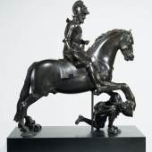 Attributed to Hubert Le Sueur  Statue of Henry IV of France (1553–1610)  on Horseback trampling his enemy  Paris, c. 1620–5  Cast bronze  V&A: A.46-1951 and A.1-1992  Photo © Victoria and Albert Museum,  London