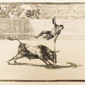 Francisco Goya: The agility and audacity of Juanito Apiñani in [the ring] at Madrid from La Tauromaquia (Bullfighting) (1815–1816) Plate 20, Etching and aquatint on paper, 34.8 × 44.8 cm (133⁄4 × 175⁄8 inches) State Central Museum of Contemporary History of Russia, Moscow Inv. 15285/36-20