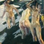 Leo Putz (1869 Meran – 1940 Meran), Badende, 1914, Öl auf Leinwand, 45 x 40 cm, Neue Galerie Graz am Landesmuseum Joanneum, Inv. Nr. I/641, VBK 2009