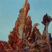 Max Ernst Le fascinant cyprès, 1940 Die faszinierende Zypresse Öl auf Karton 32 x 26 cm Sprengel Museum Hannover © VG Bild-Kunst, Bonn 2013 Foto: Aline Gwose / Michael Herling, Sprengel Museum Hannover