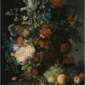 Rachel Ruysch, Stilleven met bloemen op een marmeren tafelblad, 1716