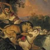 Raden Saleh Ben Jaggia  Kampf zwischen einem Rhinozeros und zwei Tigern | 1840 | Öl auf Leinwand | 48 x 60 cm  Schätzpreis: 80.000 – 100.000 Euro