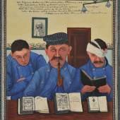 """Josef Karl Rädler  """"Die Menschen werden gebildeter.""""  1907  42,7 x 29,8 cm  Mischtechnik auf Papier  Foto © Galerie Altnöder"""