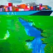 Rainer Fetting, Frachter 2017, Acryl auf Leinwand, 200 x 250 cm