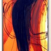 """Arnulf Rainer, """"Schwarzer Engel I"""", 1998, Öl auf Karton auf Holz, 73 x 51 cm  Foto: Galerie 422"""