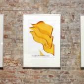 Raum für Alle hat die Erde. Zeitgenössische Schrift-Kunst von Hassan Massoudy, Ausstellungsansicht im Freiraum in der Box © Staatliche Museen zu Berlin, Museum für Islamische Kunst / Zina Ebden