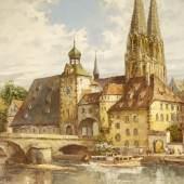 Prof. August A. Wendehals - Regensburg mit steinerner Brücke, www.hamburgensien.com
