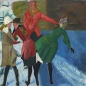 Reinhold Ewald: Schlittschuhläuferinnen, 1922 Öl auf Karton, 45,4 x 31 cm Sammlung Christina und Volker Huber, Offenbach am Main Foto: Uwe Dettmar, Frankfurt a. M.