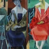 Reinhold Ewald: Zwei sitzende Mädchen, 1921 Öl auf Pappe (zweiteilig), 146 x 99,5 cm Privatbesitz Foto: Uwe Dettmar, Frankfurt a. M.