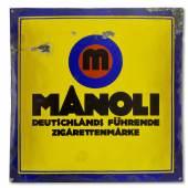 """Lucian Bernhard REKLAMESCHILD """"MANOLI"""" um 1910/20 Zigarettenfabrik Manoli, Berlin (Deutschland) Blech, emailliert Bröhan-Museum, Berlin © VG Bild-Kunst, Bonn 2018"""