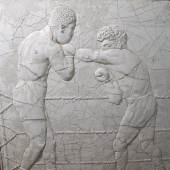 Relief panel of Joe Louis and Max Schmeling boxing for the World Championship in 1938 in Yankee Stadium  American Primitive
