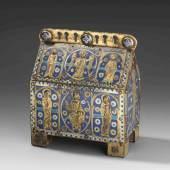 Reliquienkästchen Wohl 19.Jh., in der Art von Limoges des frühen 13. Jahrhunderts. Schätzpreis:40.000 - 50.000 CHF