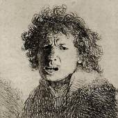 Rembrandts (1606-1669) Selbstbildnis mit offenem Mund zeigt den berühmten holländischen Meister im Alter von 24 Jahren (Radierung auf Bütten, 7,3 x 6,2 cm, Schätz- preis 1500 Euro)