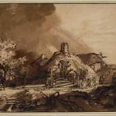 Rembrandt Harmensz. van Rijn Bauernhäuser vor gewittrigem Himmel, um 1635 © Albertina, Wien