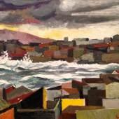 Renato Guttuso, Isola di Ortigia, 1956, olio su tela, cm. 35 x 50