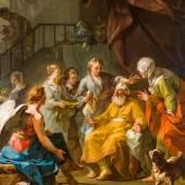 1596 Restout, Jean attr. 1692 Rouen - 1768 Paris. Öl/Lw. Der alte Tobias erhält sein Augenlicht zurück. Unter  einem Baldachin, der junge Tobias, seinen blinden Vater heilend,  davor der Erzengel Raphael. (O.l. Einriss, doubl., Craquelé).  140 x 112 cm. R. Zuschreibung durch Richard Knight, Dirketor bei Colnaghi, London  1989.Lit.: 1,2,11,14. (4393085)3 500,-- EURO