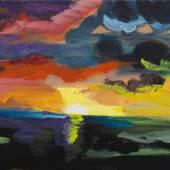 Rainer Fetting, Sonnenuntergang Sylt 2019, Acryl auf Leinwand, 70 x 110 cm