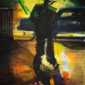 Rainer Fetting, Sunset Skater 2018, Acryl auf Leinwand, 230 x 150 cm