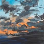 Rainer Fetting, Wolkenbild Westerland, 2019 Acryl auf Leinwand, 90 x 50 cm