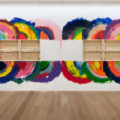 "Richard Jackson ""Rennie 101"", 2010, Wall painting, acrylic paint, wood, canvas, 304.8 x 1005.8 cm. © the artist / Estate. Courtesy the artist / Estate and Hauser & Wirth. Galerie Hauser & Wirth (Zürich/London/New York)"