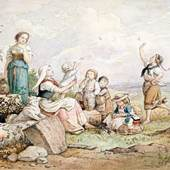 Ludwig Richter: Frau mit Kindern an der Quelle/Am Brunnen, 1868, Museum Georg Schäfer, Schweinfurt