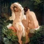 August Heinrich Riedel (1799 Bayreuth – 1883 Rom), Badende Mädchen, Öl/LW, 41,5 x 34,5 cm, Oberösterreichische Landesmuseen, Schlossmuseum Linz Inv. Nr. 820-1-Ka-103