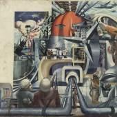 Arno Rink Entwurf für ein Wandbild 1965, Öl auf Hartfaser, 72x77 cm © Galerie Schwind