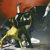 Arno Rink Nacht der Gaukler 1982, Öl auf Hartfaser, 168x200 cm © Galerie Schwind