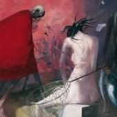 Arno Rink Nächtlich heimwärts 1989, Öl auf Hartfaser, 140x170 cm © Galerie Schwind