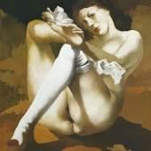 Arno Rink Sitzender Akt nach Courbet 1980, Öl auf Hartfaser, 73x65,5 cm © Galerie Schwind