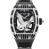 LOT 228 RICHARD MILLE RM 57-02 FALCON EXCEPTIONAL AND UNIQUE WHITE GOLD, DIAMOND AND SAPPHIRE-SET SKELETONISED TOURBILLON WRISTWATCH WITH POWER RESERVE INDICATION CIRCA 2017  CHF 800 000-1 200 000/USD 810 000-1 220 000