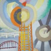 Robert Delaunay, La Tour Eiffel et l'avion, 1925 Öl auf Leinwand, 155 x 95 cm Courtesy Galerie Le Minotaure, Paris