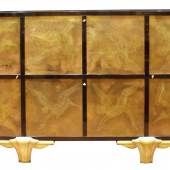 A cabinet by Eugène Printz (1889-1948) and Jean Dunand (1877-1942) A cabinet in rosewood, 2 doors in decorated metal, bases in bronze, interior in sycamore. 167 x 40 x 100 cm. France, around 1940. Robertaebasta di roberta tagliavini
