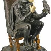 """Franz Rosse (Berlin 1858 – 1900) """"Hofnarr mit Papagei"""" Bronze und Elfenbein signiert und datiert 1888 H: 30 cm (Antiquitäten Dr. Birbaumer & Eberhardt)"""