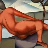 Rudolf Jahns (1896 — 1983): Roter Akt in Landschaft, 1947, Öl auf Holz, 40 × 50 cm, Barbara Roselieb-Jahns, Foto: Axel Triestram, (c) VG Bild-Kunst, Bonn 2014