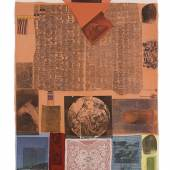 Shroud, 1979 Solvent transfer on fabric collaged to paper 200 x 92,7 cm (78,75 x 36,5 in) (RR 1113)  Photo : Glenn Steigelman, 2018