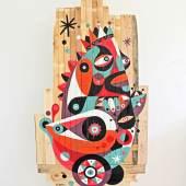 Gallery : Tashkeel Title : Road Trip Artist : Ruben Sanchez Date : 2013 Medium : Acrylic on reclaimed wood Courtesy : Courtesy of Tashkeel Dimension : 137 x 80 cm