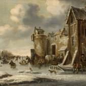 """Claes Molenaer um 1639 Haarlem - 1676 Haarlem """"Winterlandschaft"""" Öl auf Holz, monogrammiert 25,5 x 33,5 cm (Ariane Rückeshäuser Kunsthandel)"""